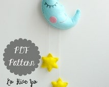 PDF Pattern - Moon and Stars Baby Crib Mobile. Felt Mobile. Nursery Decoration. Felt Pattern. Plush Pattern - Instant Download
