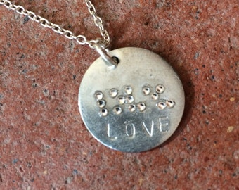 Braille 'love' pendant with swarovski jewels