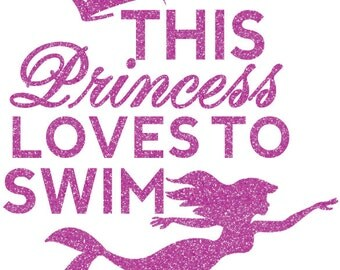 Princess Swimming Iron On Decal