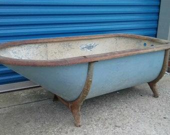 Vintage antique Victorian galvanized bath tub oak rim steampunk bathroom cast iron legs