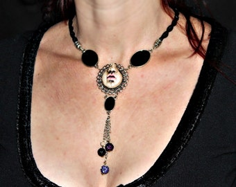 """Necklace Choker Gothic face doll OOAK collection """"barroco"""""""