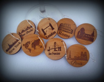 Wine Glass Charms Tags, Famous Cities, New York, London, Paris, Rustic - For Wine Glasses, Decorative, Stemware, Party, Drink-ware, Set of 8