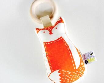 Organic Teether - Hand Printed Fox Rattle Toy - Handmade - Orange - Bright - Woodland Animal - Baby Toy