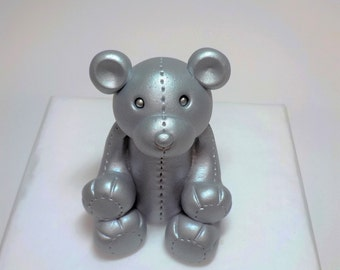 Custom Color Fondant Teddy Bear 1st Birthday Baby Shower Silver Fondant Cake Topper Stitched
