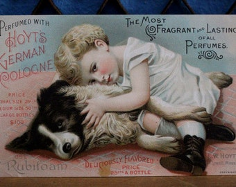 Hoyt's German Cologne Trade Card Victorian Child with Dog Advertising