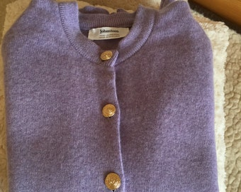 Vintage Johnstons wool purple cardigan made in Scotland xs size
