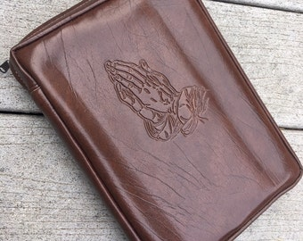 ON SALE! Vintage Zippered Brown Praying Hands Bible / Book Cover Protector