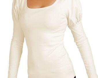 Medieval blouse, Open neckline, Voluminous shoulders, Long sleeve shirt, Cotton blouse, Long sleeve top