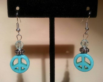 Turquoise Stone Peace Earrings