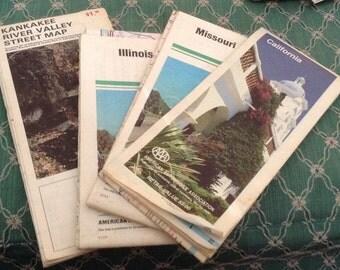 4 Vintage US Road Maps