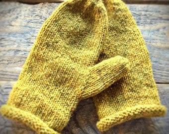 Wool mittens, knit mittens, hand knit mittens, warm mittens, yellow mittens, womens mittens, womens winter mittens, handmade mittens