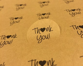 63 Thank You Seals Round Labels Favors Kraft Party Birthday Baby Shower