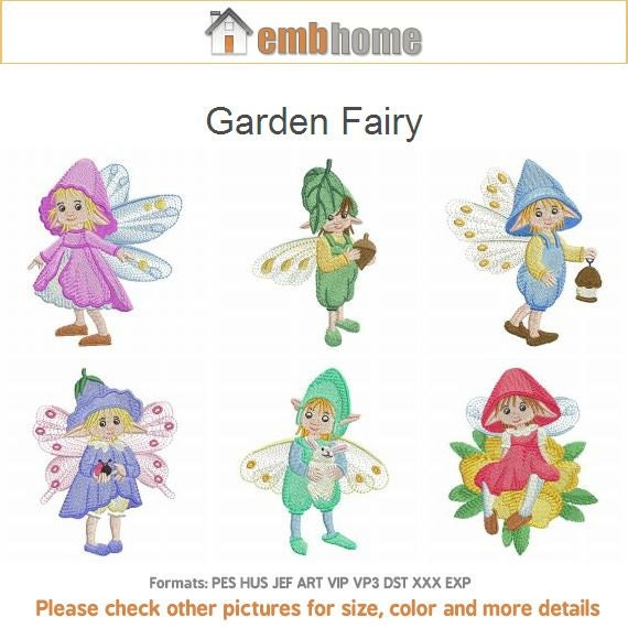 Garden fairy machine embroidery designs pack instant download for Garden embroidery designs free