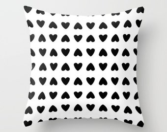 Hearts Pillow Cover - Black Hearts Pillow Cover - Valenitnes Day Decorative Pillow Cover - Home Decor - By Aldari Home
