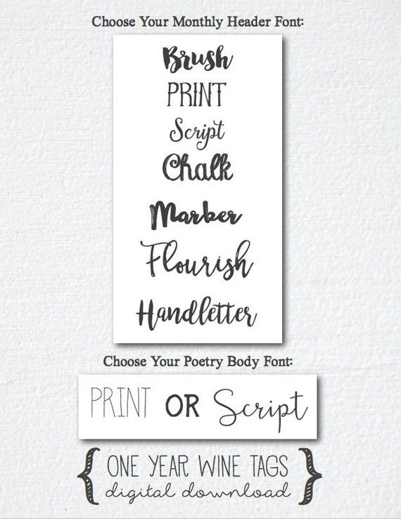 Monthly Wine Tags Poems Digital Printable - One Year of ...