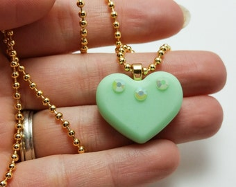 Green Resin Heart Necklace