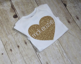 Personalized Glitter Heart Name Onesie, Sparkle-Gold, Carters Baby