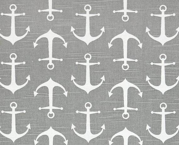 Anchor Fabric Gray Coastal Fabric by the Yard Designer by