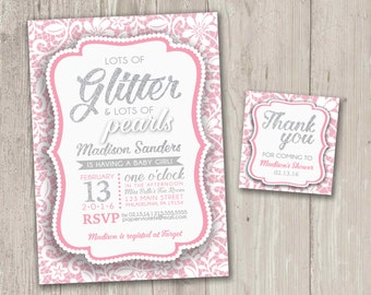 Glitter and Pearls Baby Shower Invitations, Baby Girl Baby Shower, shower invitation  | Digital File