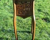 Vintage Carved Wood Pedestal Display Plant Stand Side table Ornate Vines