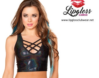 Black Front Strap Hologram Tank Top