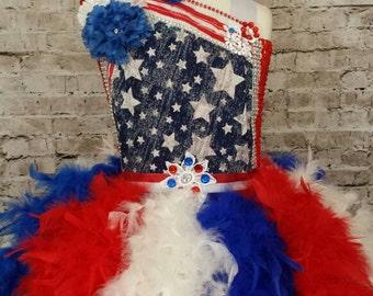 American flag tutu dress, 4th of July Tutu dress. Patriotic dress, birthday tutu, feather tutu dress, red white and blue feather dress