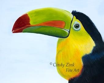 "Toucan, Original Acrylic Painting, 8""x10"", Bird, Jungle, Brightly Colored, Black, Yellow, Orange, Green, 1/8"" Primed Hardwood Panel"