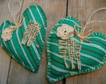 Lake House Decor, Rustic Country Home Decor, Primitive heart decoration, cottage style green heart, fabric heart, Nursery Kids' Room Decor