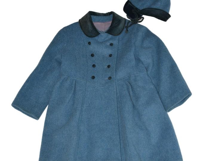 Vintage Estate Rothschild Blue Wool Peacoat Kids Coat