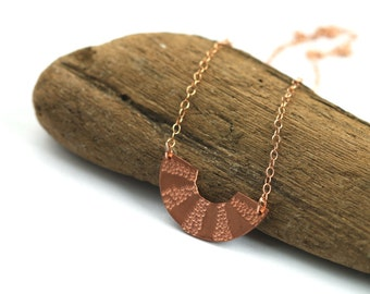 Small scallop copper necklace // 14k rose gold // geometric charm // half moon // minimalist layered jewelry // circle charm //dots necklace