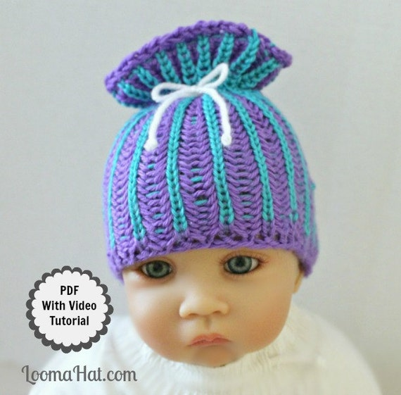 Knitting Loom Patterns Baby Hats : Loom Knit Baby Hat PATTERN with Video Tutorial Brioche Stitch