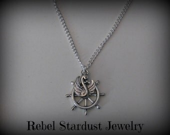 Ship rudder and swan necklace
