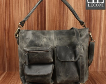 LECONI shoulder bag shoulder bag leather bag lady vintage retro leather grey LE0039-wax