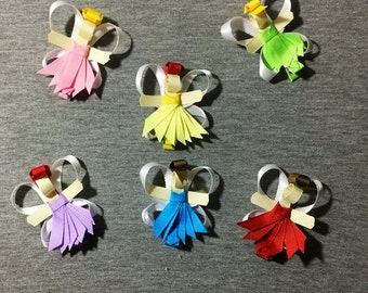 Fairy Sculpted Hair Bow Clips Your Choice of A Set of 2 Fairy's. Blue/Red/Purple/Yellow/Green/Pink/Brunette/Blonde/Red Head