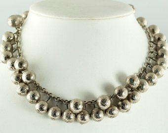 SALE--Silver Ball Fringe Necklace