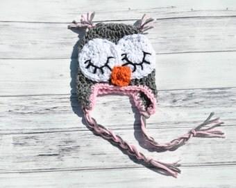 Crochet Baby Hat, Baby Owl Hat, Crochet Owl Hat, Owl Photo Prop, Baby Girl Owl Hat, Baby Owl Beanie, Pink Owl Hat, Crochet Owl Baby