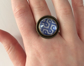 Antique blue & white statement ring