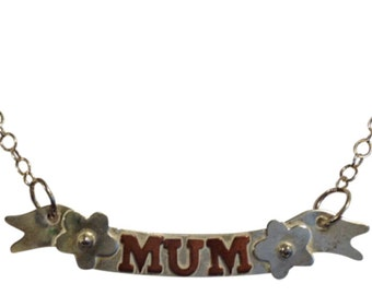 Sterling Silver Mum Banner Necklace