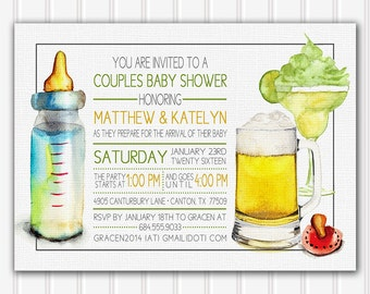 Couples Baby Shower Invitation, Baby Shower Invitation, Couples Baby Shower, Neutral Baby Shower Invitation, Custom Invitation