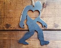 FREE SHIPPING: BigFoot Sasquatch Love Rustic Steel Heart Ornament