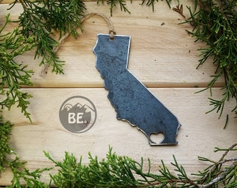 Love San Diego California Steel Ornaments Love Rustic CA Metal State Heart Decor Holiday Gift Wedding Favor By BE Creation
