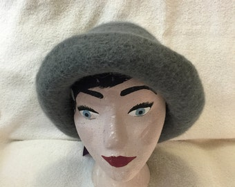 Womens gray wool felted hat with purple ribbon