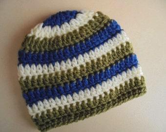 Newborn boy hat, striped baby hat, baby boy beanie, crochet baby hat, hospital boy hat, take home outfit boy, newborn photo prop, baby hat