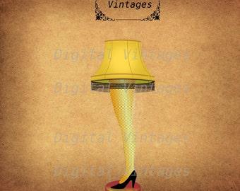 Leg Lamp Christmas Story Holiday Vintage Illustration Digital Image Download Printable Graphic Clip Art 300dpi svg jpg png