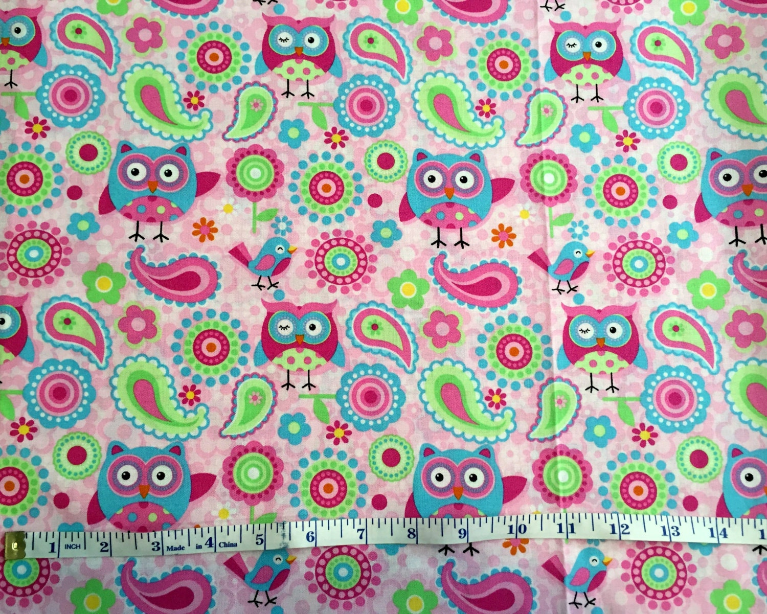 Pink Owls Cotton Quilting Fabric Remnant Pink Birds Cotton