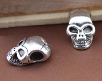Wholesale bluk  Lot   200pcs  tibet silver alloy   skull  alloy metal beadt, DIY braclet 8x12mm