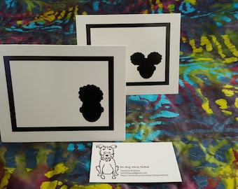 Black and White Afro Blank Notecards