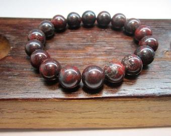 Bloodstone Bracelet, Higher Heart Chakra Bracelet, Bloodstone Purification Bracelet, Bloodstone Healing Bracelet, Yoga Meditation Bracelet