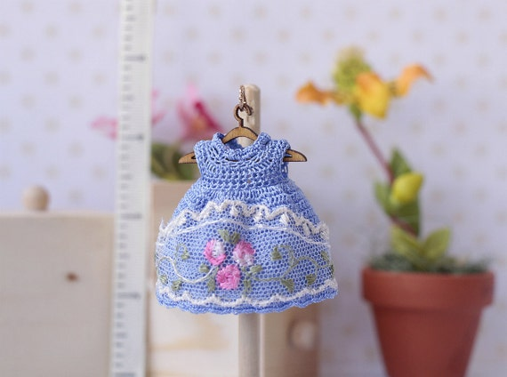 Crochet Mini Doll Clothes : 4 inch doll Miniature crocheted blue silk dress with lace.