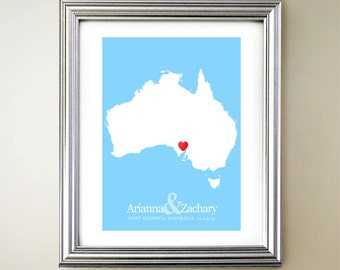 Australia Custom Vertical Heart Map Art - Personalized names, wedding gift, engagement, anniversary date